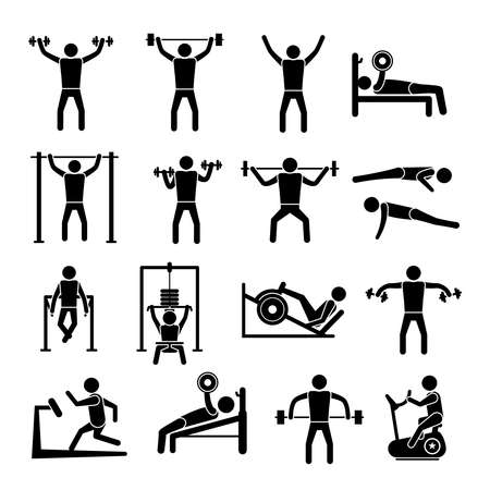 Illustration for Workout sport and fitness gym training icons black set isolated vector illustration - Royalty Free Image