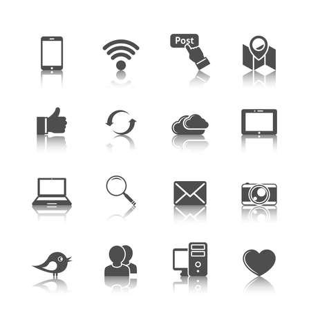 Foto für Social media mobile global network set with computer cloud tablet monochrome icons isolated vector illustration - Lizenzfreies Bild