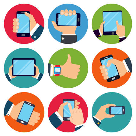 Illustration pour Human hands set holding mobile phones and tablet devices isolated vector illustration - image libre de droit
