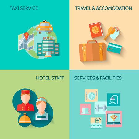 Illustration pour Travel tourism taxi service concept flat business icons set of hotel staff restaurant for infographics design web elements vector illustration - image libre de droit