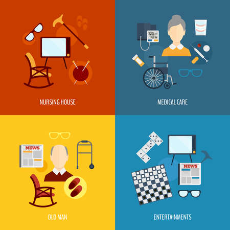 Illustration pour Pensioners life flat icons set of nursing house medical care old man entertainments isolated vector illustration - image libre de droit
