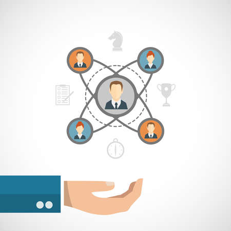 Illustration for Connected people concept with businessman hand and social network elements set vector illustration - Royalty Free Image