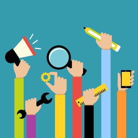 Illustration pour new business hands concept - image libre de droit