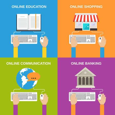 Illustration pour Online service concepts flat icons set of education shopping communication banking isolated vector illustration - image libre de droit