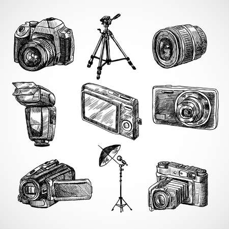 Illustration for Photo camera digital technology studio equipment hand drawn set isolated vector illustration - Royalty Free Image