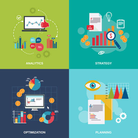 Illustration for Business data flat icons set with analytics strategy optimization planning isolated vector illustration - Royalty Free Image