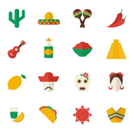 Illustration for Mexico travel symbols flat icon set with cactus sombrero maraca chili pepper isolated vector illustration - Royalty Free Image