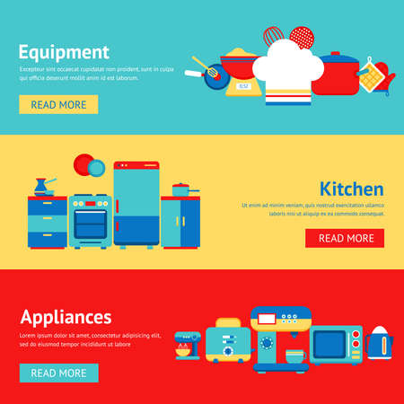 Illustration pour Kitchen appliances and equipment flat banner set with coffee machine mixer fridge isolated vector illustration - image libre de droit