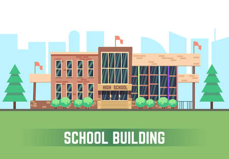 Illustration for School building. Vector flat education concept. College construction urban illustration - Royalty Free Image