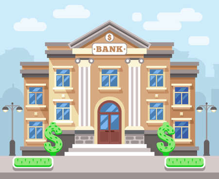 Illustration for Bank building with cityscape. Business and finance flat vector concept. Business bank, architecture bank, financial building bank, institution bank illustration - Royalty Free Image