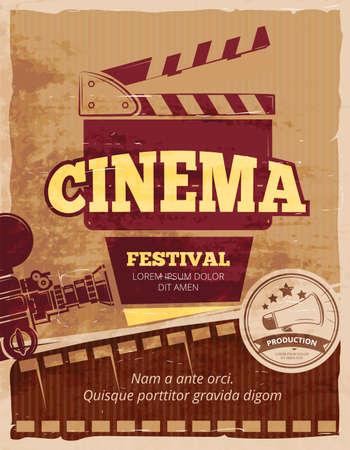 Illustration for Cinema, movie festival vector vintage poster. Cinema festival poster, banner festival movie, cinematography festival illustration - Royalty Free Image