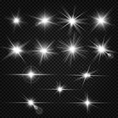 Illustration for Twinkle lens flares, glare lighting vector effects. Collection of white star energy on on transparent background illustration - Royalty Free Image