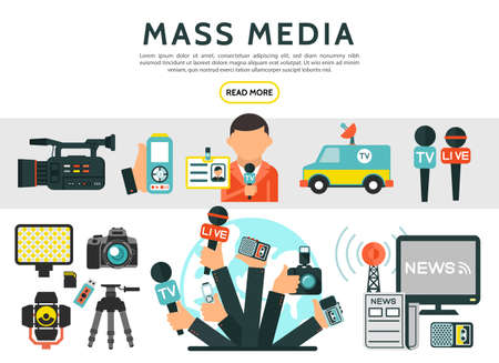 Illustration for Flat mass media elements set with reporter photo video cameras news car microphones television radio tower dictaphone journalist id card newspaper isolated vector illustration - Royalty Free Image