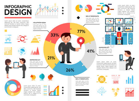 Illustration for Flat infographic elements concept with man standing in center of pie chart diagrams graphs business people holding checklist and working on computer vector illustration - Royalty Free Image