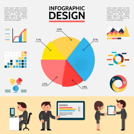 Illustration pour Flat abstract infographic template with graphs charts diagrams and business people in different situations vector illustration - image libre de droit