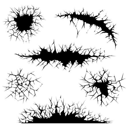 Illustration for vector cracks, cracked ground and cracked wall - Royalty Free Image