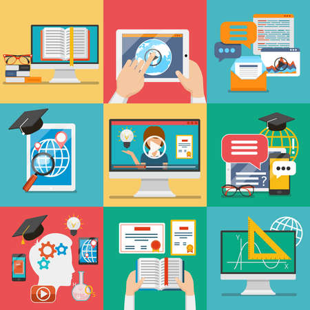 Illustration for Online education icons or vector flat education concepts. - Royalty Free Image