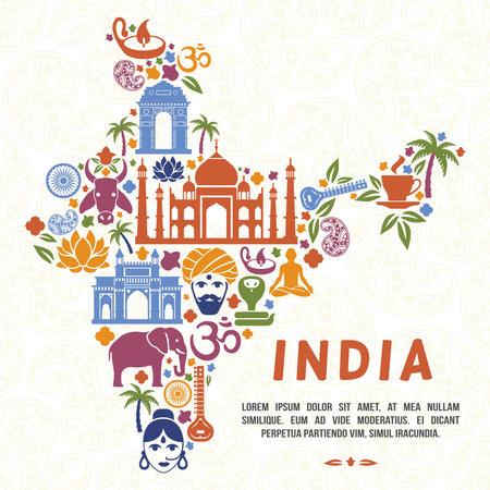 Illustration pour Traditional Indian symbols in the form of India map. India traditional, indian culture, india country, vector illustration - image libre de droit