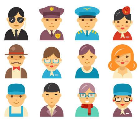 Illustration pour Aviation flat avatar icons. Airport characters in flat style vector illustration. Service airport people police security and captain, hostess airplane and passenger, airport staff people - image libre de droit
