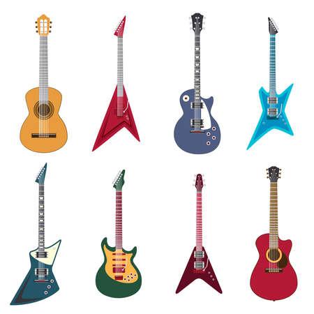 Illustration pour Guitars icons. Acoustic guitars and electric guitar vector illustration - image libre de droit