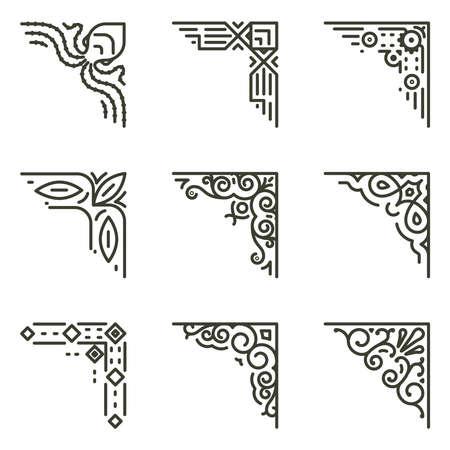 Illustration pour Ornamental linear corners. Vector calligraphic line corners for vintage frames illustration - image libre de droit