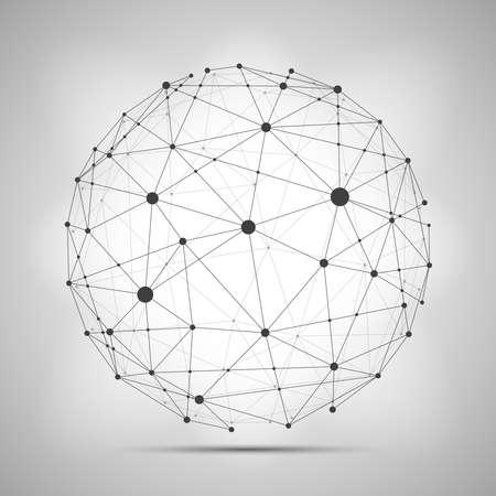 Illustration pour Vector wireframe connecting earth sphere. Globe connection concept. Globe structure connect, illustration of globe network - image libre de droit