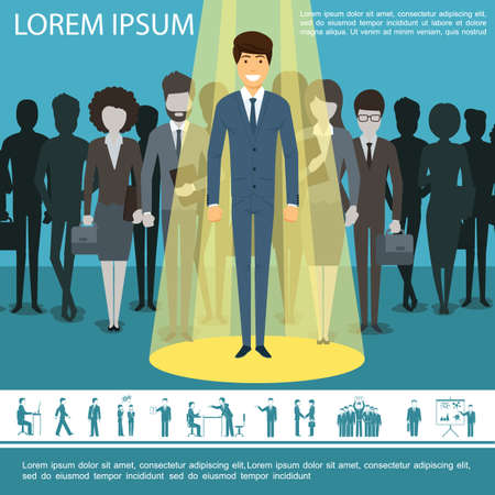Illustration pour Flat business people template with group of entrepreneurs managers businesswomen and businessman icons vector illustration - image libre de droit