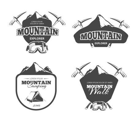 Illustration pour Vintage mountain camping, mountaineering vector emblems, labels, badges set.   adventure mountain, emblem mountain walk, badge mountain explorer, label mountain expedition illustration - image libre de droit