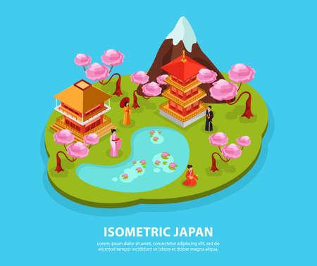 Illustration pour Japan culture landmarks tourist attractions isometric composition with cherry blossom fuji mountain temple carps kimono vector illustration - image libre de droit