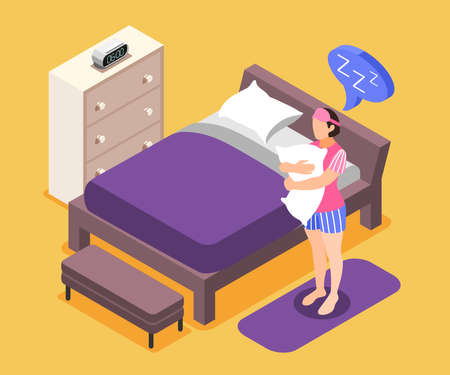 Illustration pour Human needs isometric composition with sleeping need symbols vector illustration - image libre de droit