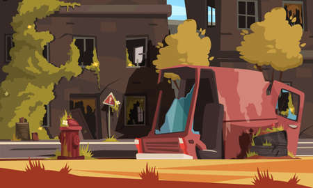 Illustration for Post apocalypse city cartoon background with empty destroyed living buildings and automobile vector illustration - Royalty Free Image