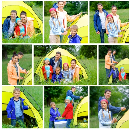 Collage of images family with three kids in tent in camping on the nature