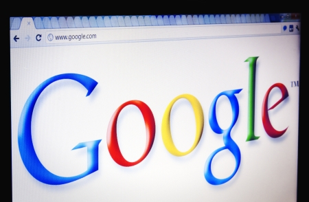 Focus on the Google logo viewed through Chrome web browser