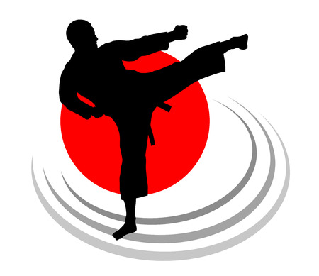 Illustration – karate silhouette with elements