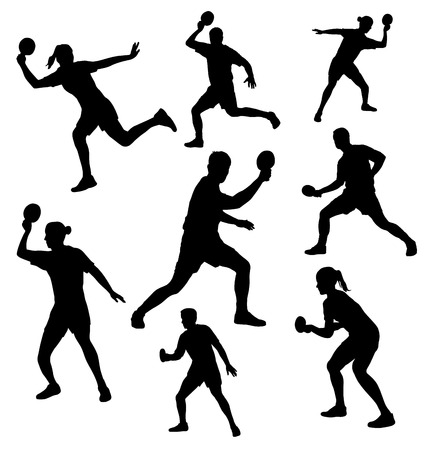 Collection -  silhouettes of table tennis player