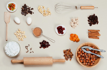 Ingredients cakes on a gray background.