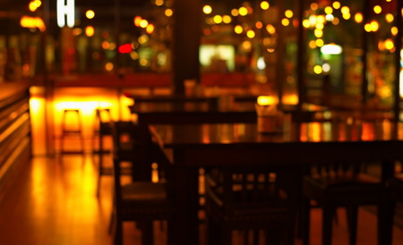 blur table in bar and restaurant at night