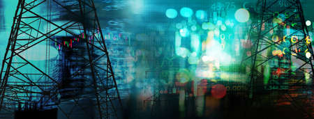 Photo pour market stock graph and information with city light and electricity and energy facility industry and business technology blue banner background - image libre de droit