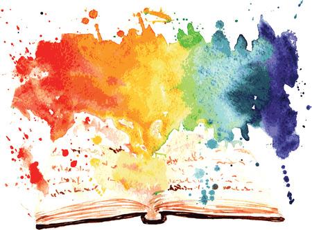 Illustration pour watercolor painted book containing a whole worlds - image libre de droit