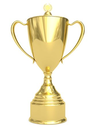 Golden trophy cup on white background. High resolution 3D image