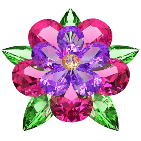 Flower composed of colored gemstones on white background  High resolution 3D image