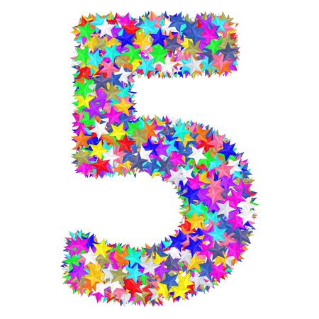 Foto de Alphabet symbol number 5 composed of colorful stars isolated on white. High resolution 3D image - Imagen libre de derechos