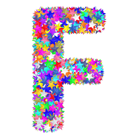 Alphabet symbol letter F composed of colorful stars isolated on white. High resolution 3D image