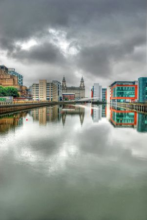 Princes Dock - Liverpool showing the Liver Buildings in the distance and the new office developments through urban regeneration