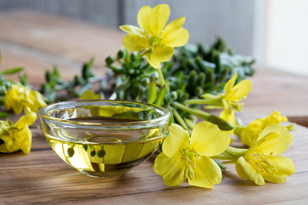 Photo pour Evening primrose oil in a glass bowl, with fresh evening primrose flowers in the background - image libre de droit