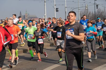 PRAGUE, CZECH REPUBLIC - APRIL 6, 2019: Runners participating in the Sportisimo Prague Half Marathon
