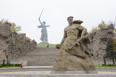 Volgograd, Russia - November 5, 2015: The view from the square stood at the death of the sculpture Stand to Death and Motherland Calls! historical-memorial complex To Heroes of the Battle of Stalingrad, Volgograd