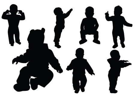Collection of kids. Black outline.