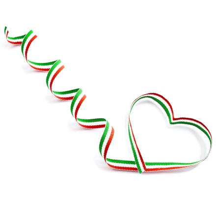 Colored Stripy Ribbon Tape Shape Heart Valentine s Day concept isolated on white background