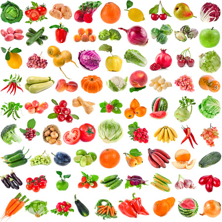 Large Collection set of Various Fresh Ripe Vegetables, Fruits, Berries close up isolated on white background
